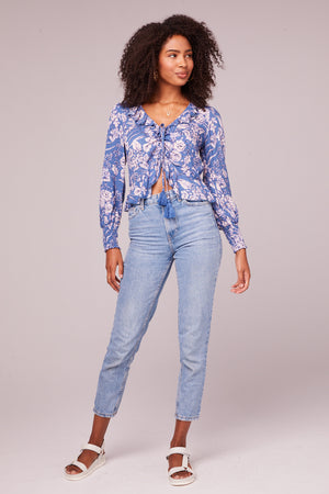 Audrey Floral Amethyst Drawstring Top Detail