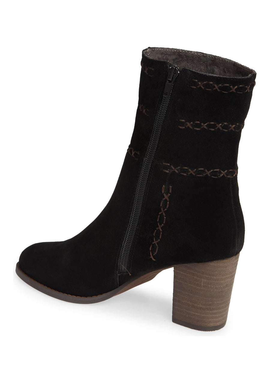 Aurora Embroidered Black Suede Bootie