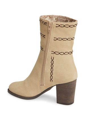 Aurora Embroidered Natural Suede Bootie Back