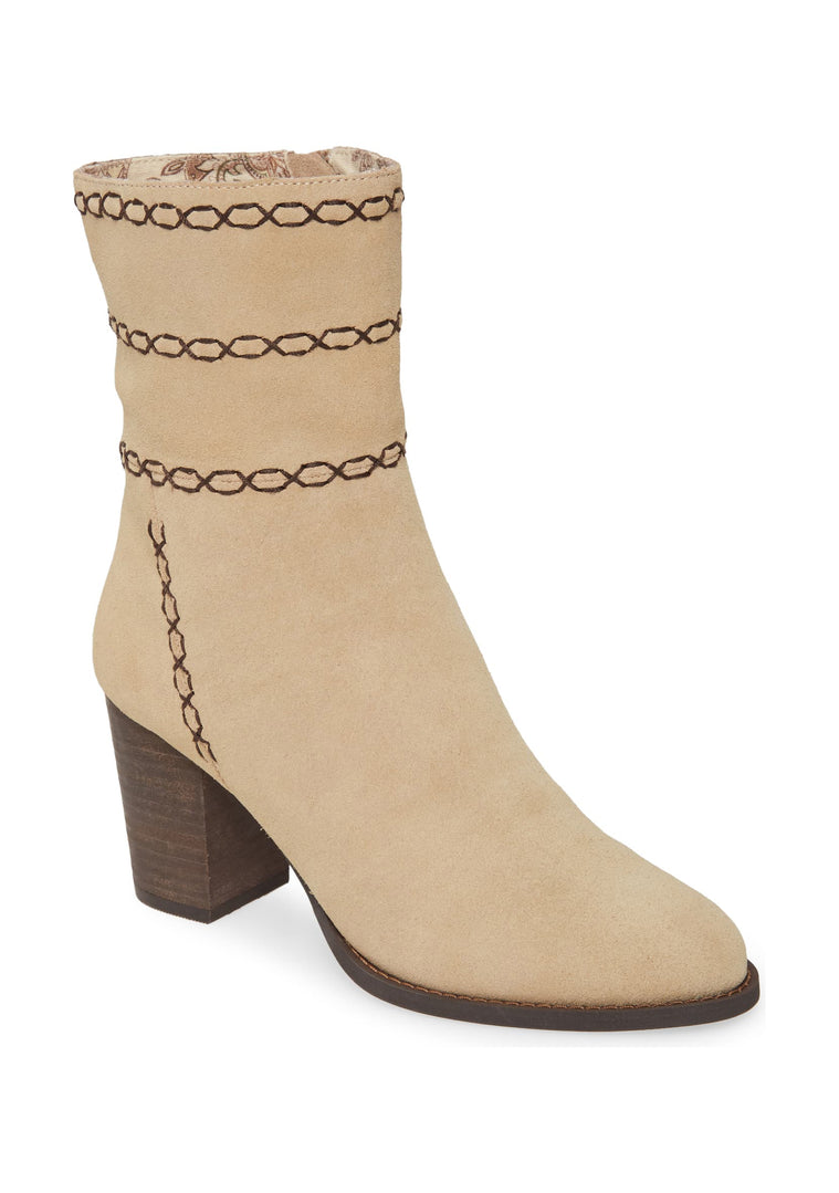 Aurora Embroidered Natural Suede Bootie