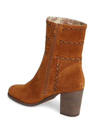 Aurora Embroidered Rust Suede Bootie Back