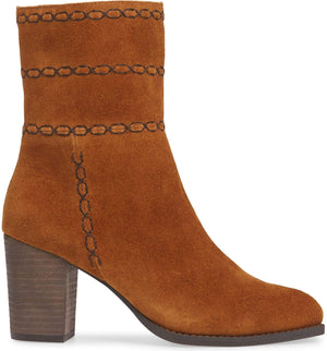 Aurora Embroidered Rust Suede Bootie