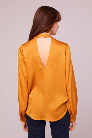 Avenue of the Stars Faux Wrap Long Sleeve Top Back