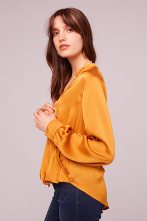 Avenue of the Stars Faux Wrap Long Sleeve Top Side