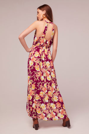 Azalea Fuchsia Floral Print Maxi Dress Back2