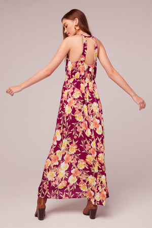 Azalea Fuchsia Floral Print Maxi Dress BAck