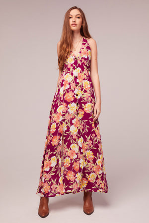 Azalea Fuchsia Floral Print Maxi Dress Close