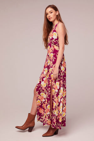 Azalea Fuchsia Floral Print Maxi Dress Detail
