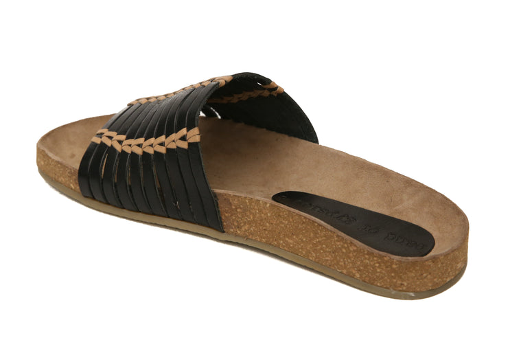 Aztec Black Natural Leather Slide Sandal Back