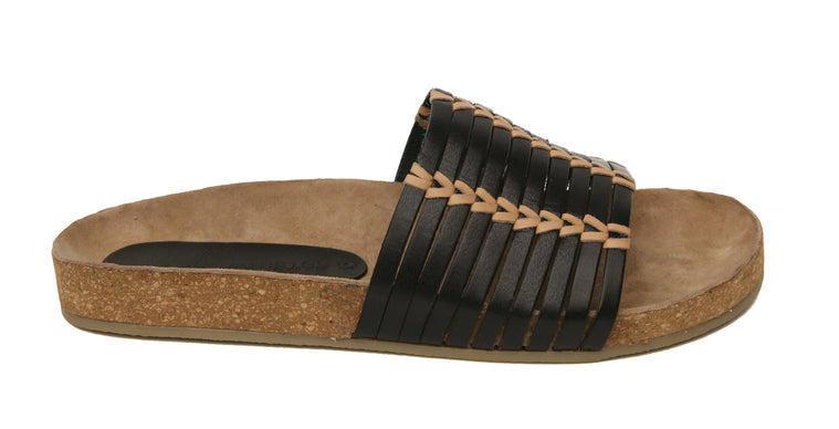 Aztec Black Natural Leather Slide Sandal Side