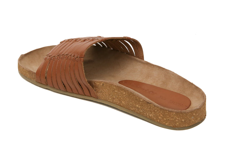 Aztec Cognac Leather Slide Sandal Back