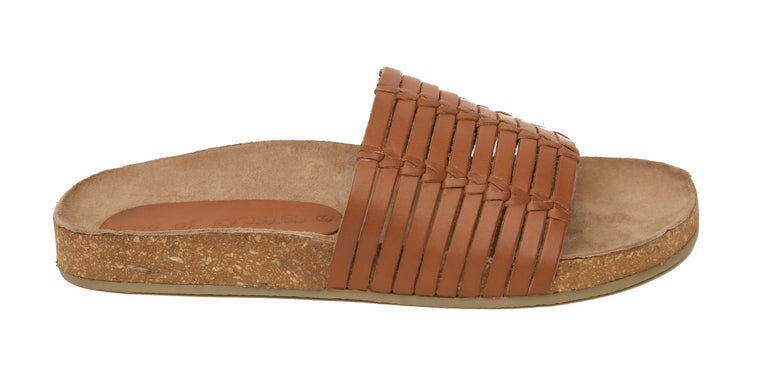 Aztec Cognac Leather Slide Sandal Side