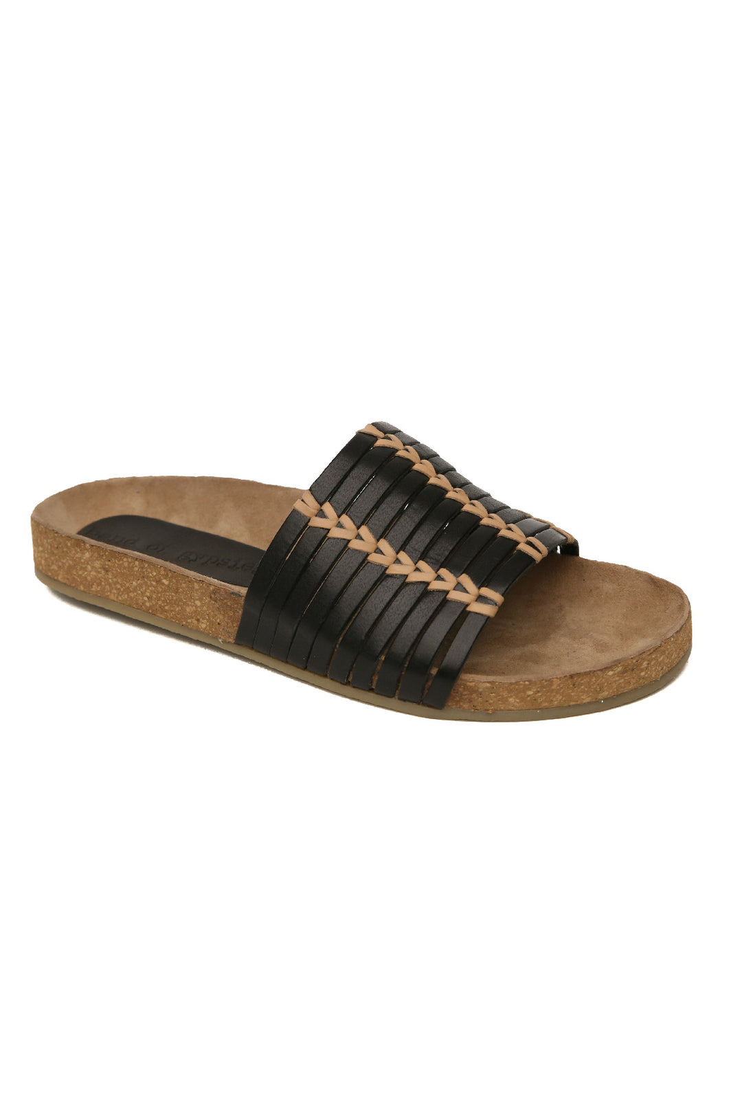 Aztec Black Natural Leather Slide Sandal Master
