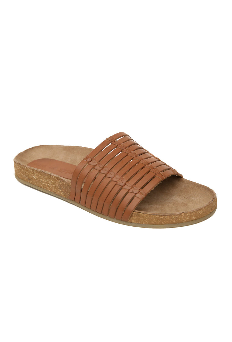 Aztec Cognac Leather Slide Sandal Master