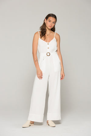 Gia Belted White Linen Jumpsuit Master 2
