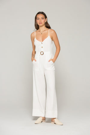 Gia Belted White Linen Jumpsuit Master