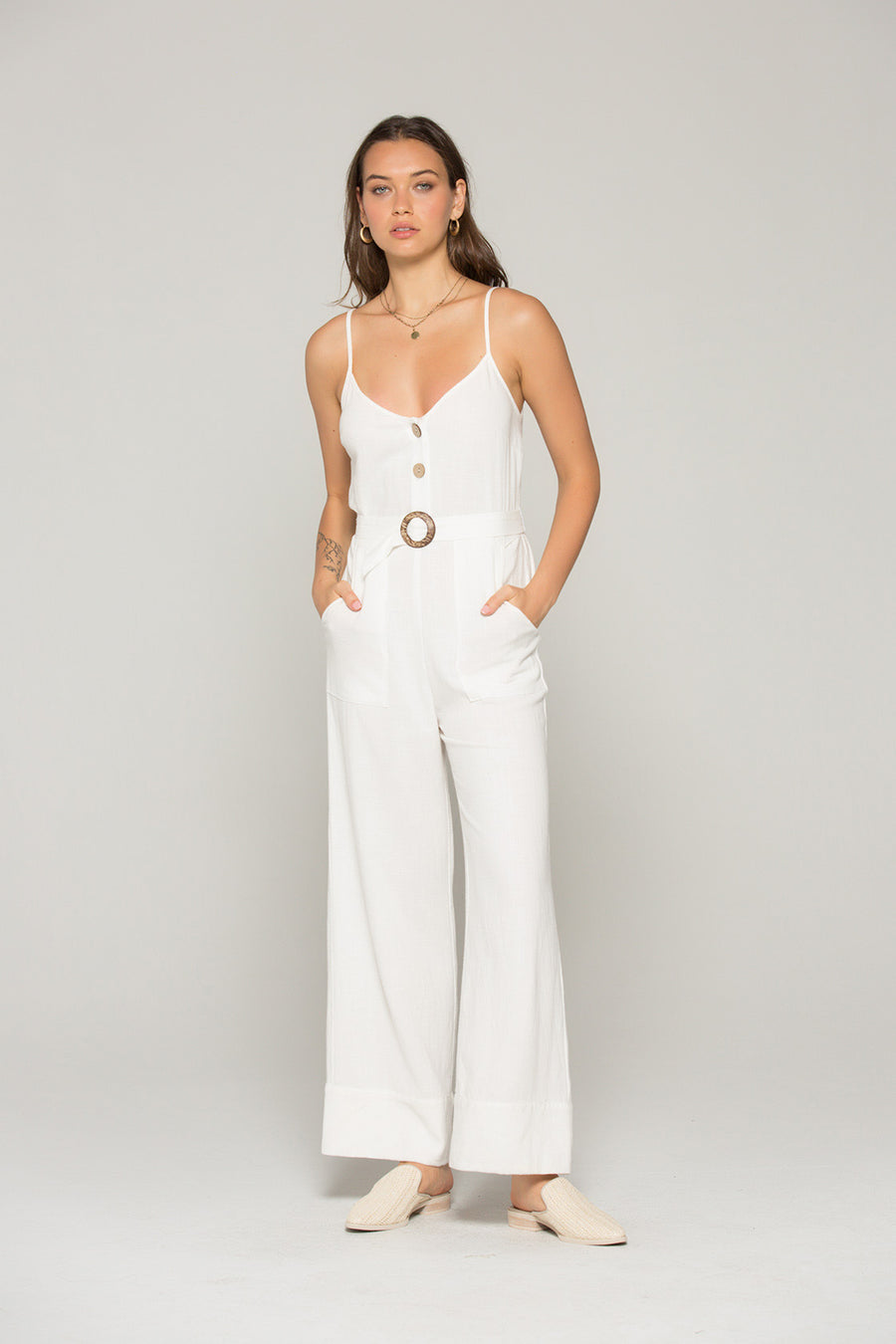 Gia Belted White Linen Jumpsuit Lifestyle