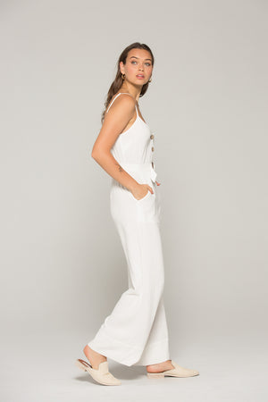 Gia Belted White Linen Jumpsuit Side