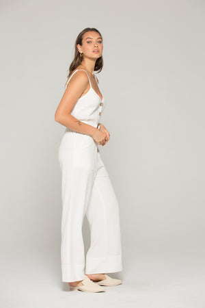 Gia Belted White Linen Jumpsuit Side 2
