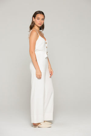 Gia Belted White Linen Jumpsuit Detail