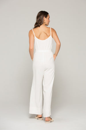 Gia Belted White Linen Jumpsuit Back 2