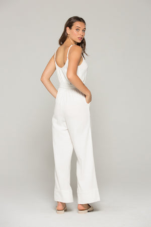 Gia Belted White Linen Jumpsuit Back