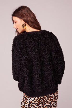 Back In Black Poodle Faux Fur Sweater Back