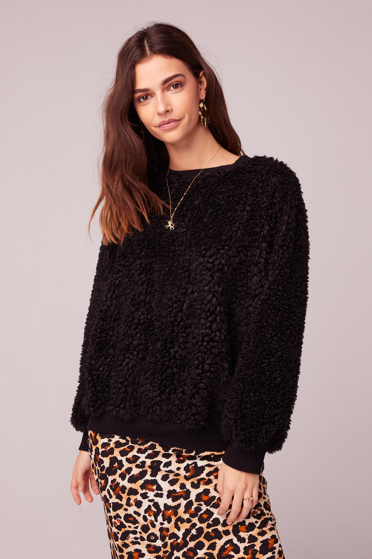Back In Black Poodle Faux Fur Sweater Close