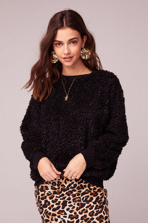 Back In Black Poodle Faux Fur Sweater Front