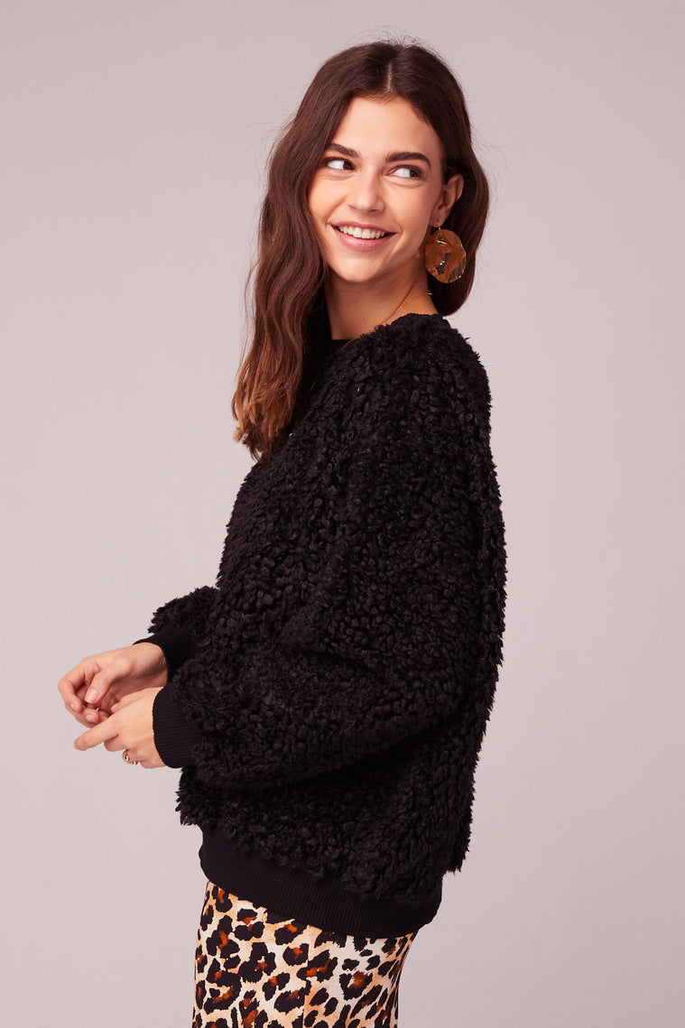 Back In Black Poodle Faux Fur Sweater Side