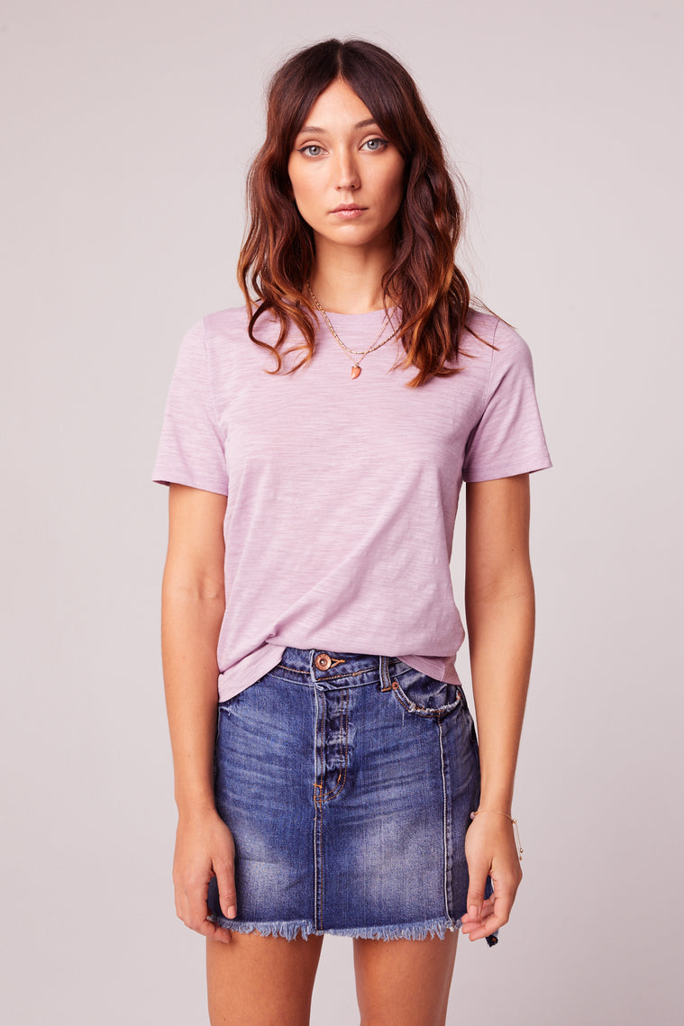 Back to Basic Lavender Tee Close