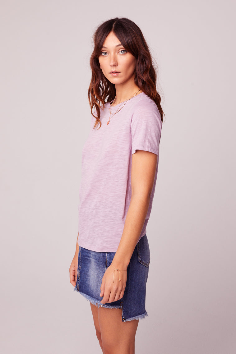 Back to Basic Lavender Tee Side