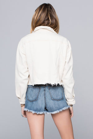 Bailey Off White Cropped Denim Jacket