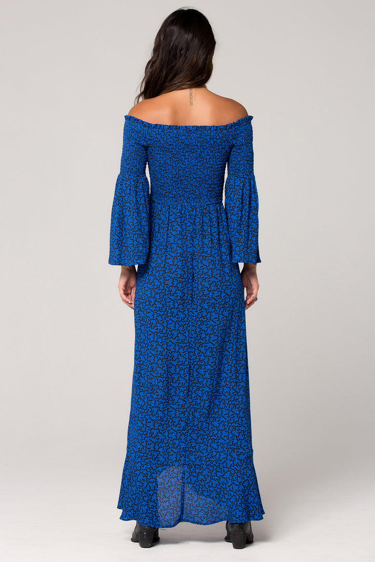 Bali Smocked Royal Blue Maxi Dress Back
