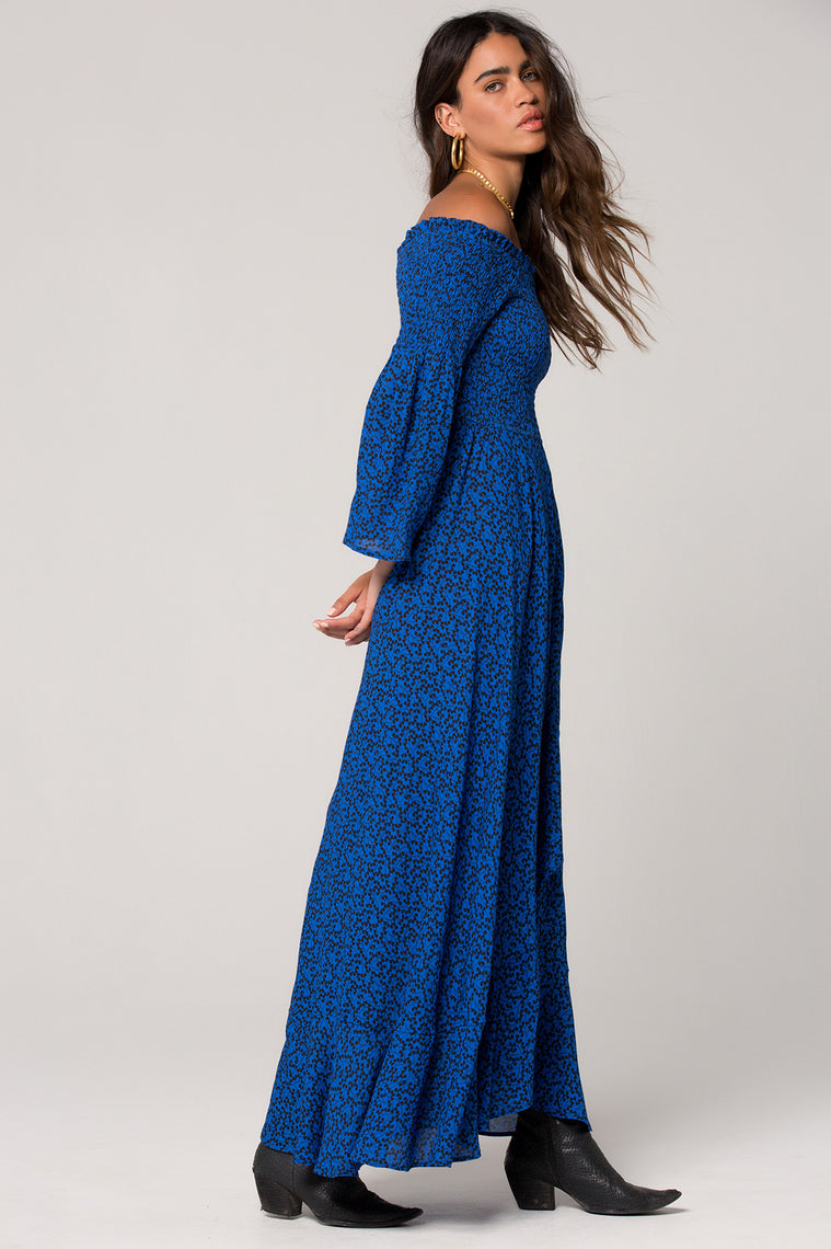 Bali Smocked Royal Blue Maxi Dress Side