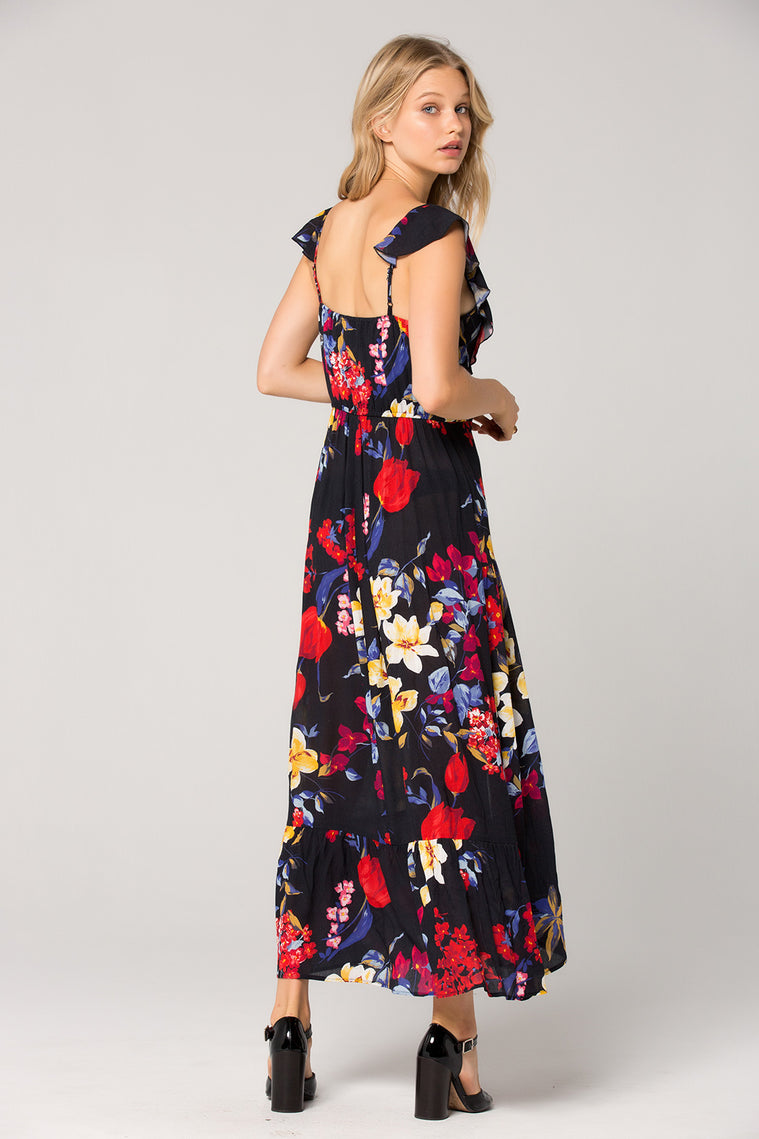 Barcelona Wrap Floral Maxi Dress Back