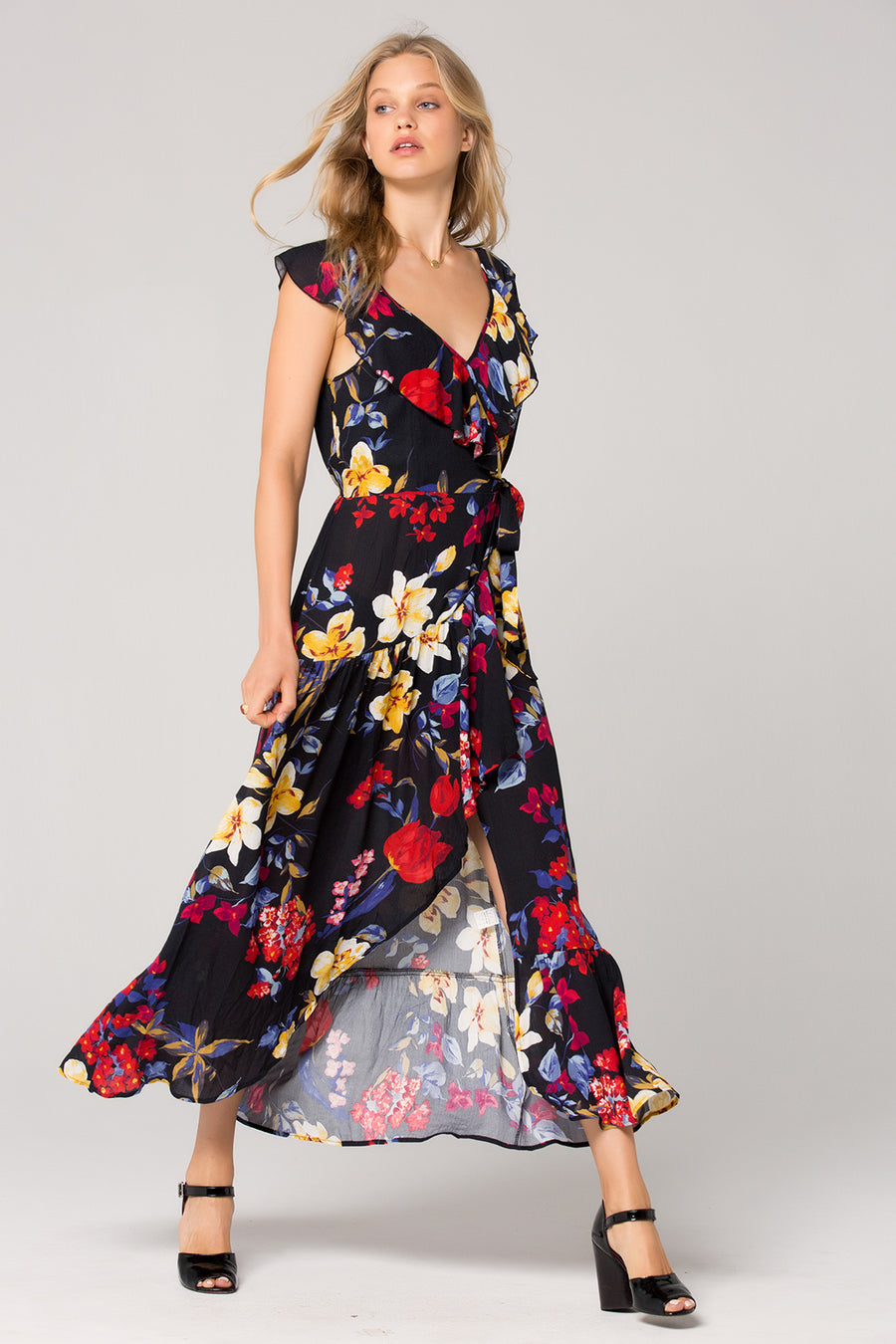c7cbb03f185 Barcelona Wrap Floral Maxi Dress