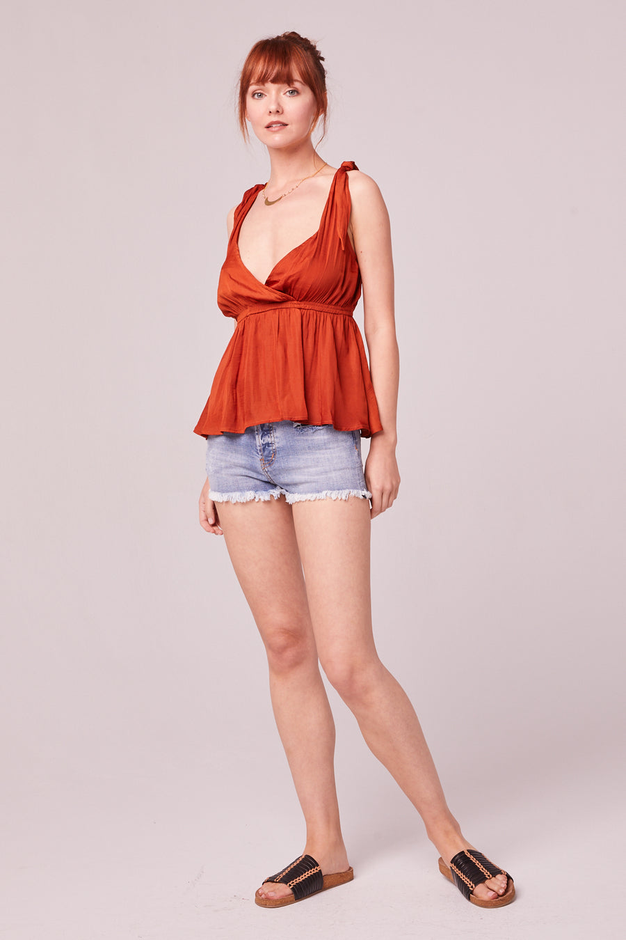 Bardot Rust Tie Cropped Cami Top Master
