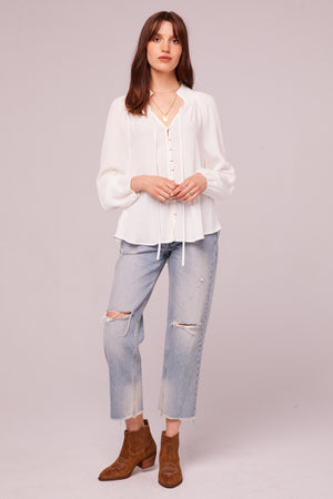 Bay St Ivory Button Up Blouse Detail