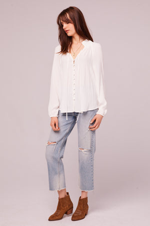 Bay St Ivory Button Up Blouse Front