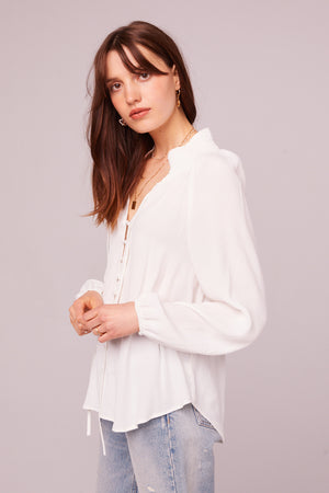 Bay St Ivory Button Up Blouse Side
