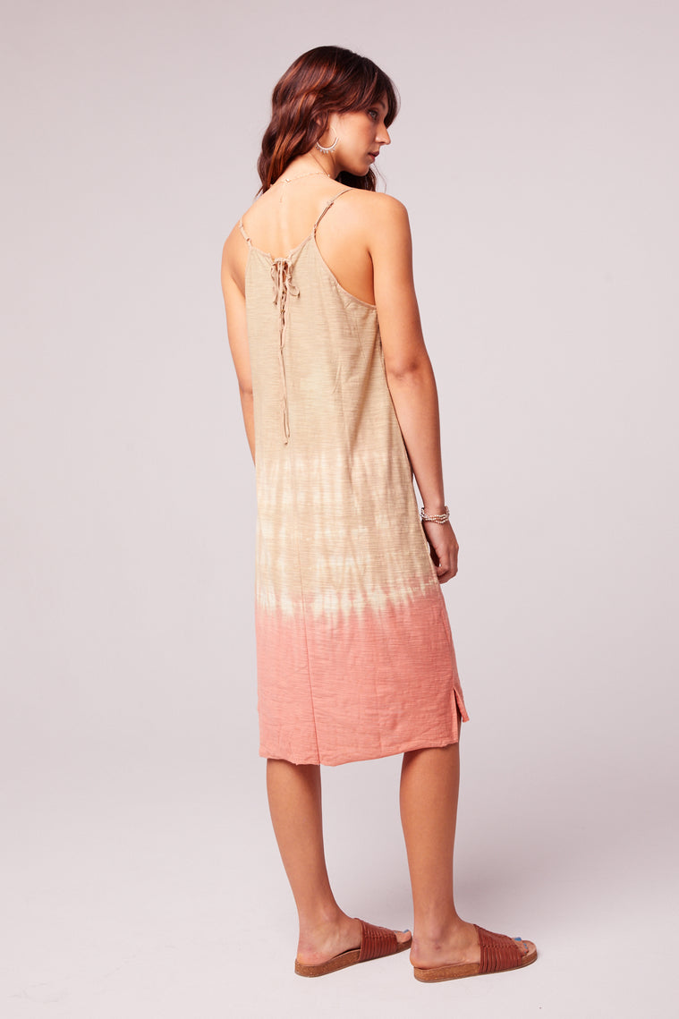 Beach Bound Tie Dye Lace up Sundress Back