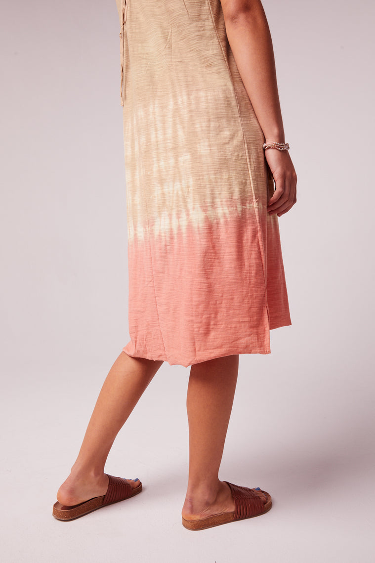 Beach Bound Tie Dye Lace up Sundress Detail