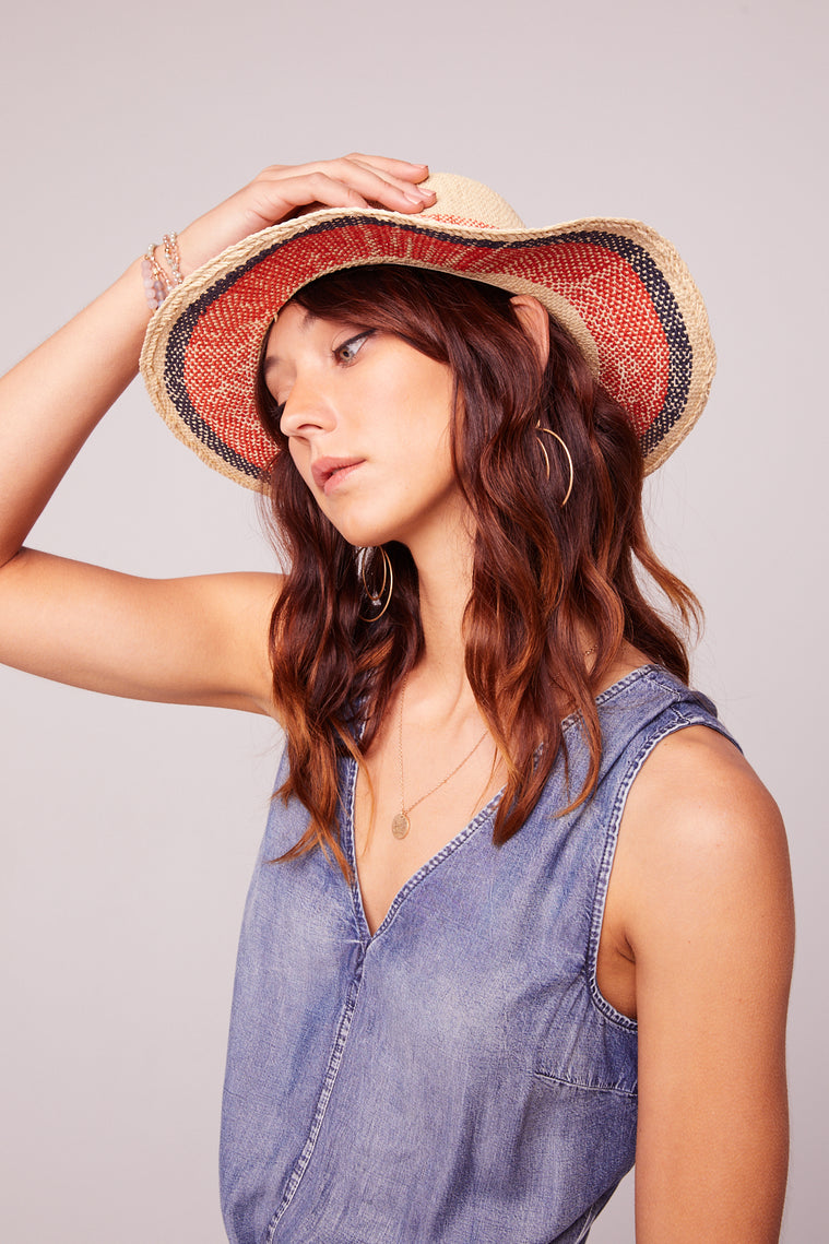 Beachy Straw Striped Panama Hat Side