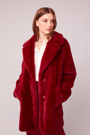 Beau Faux Fur Trench Coat Front