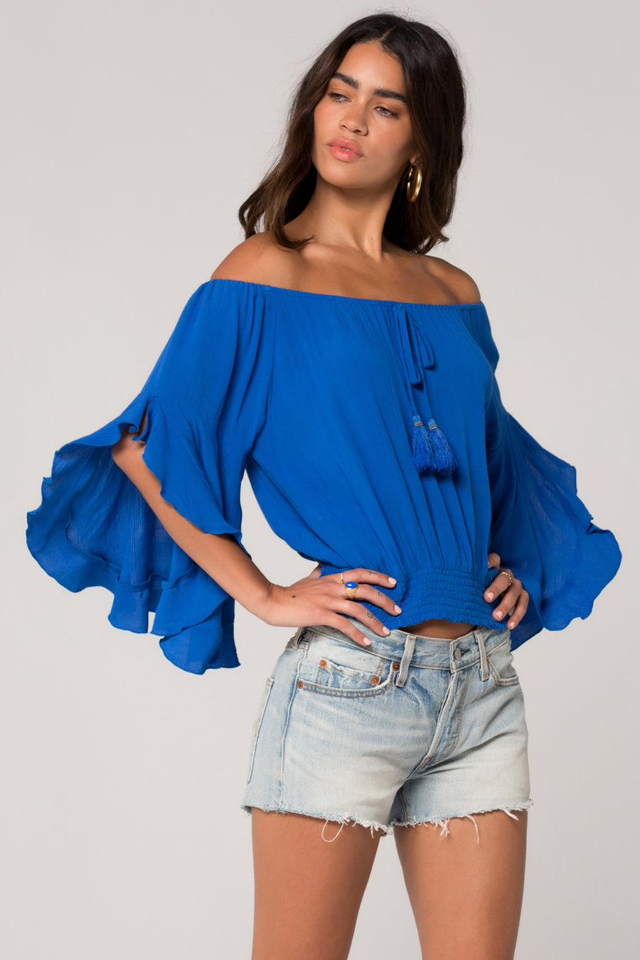 Berlin Royal Blue Ruffle Sleeve Top Master