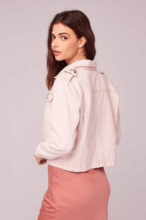 Billie Jean Light Pink Denim Jacket Back