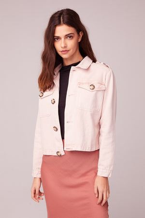 Billie Jean Light Pink Denim Jacket Close