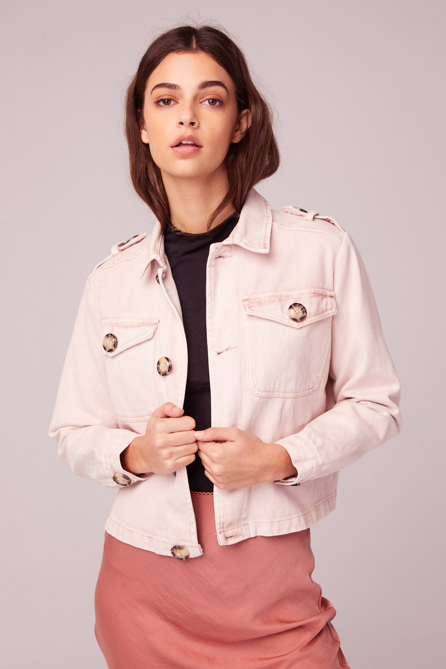 Billie Jean Light Pink Denim Jacket Lifestyle