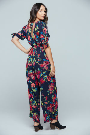 Bimini Islands Floral Tie Sleeve Jumpsuit Back 2
